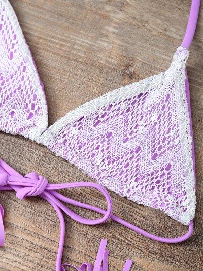 Halter String Tassels Bikini Set - PURPLE S Mobile