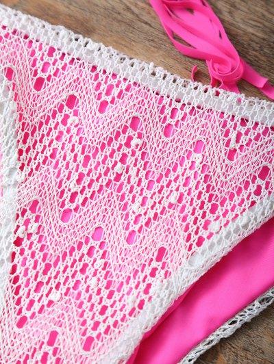 Halter String Tassels Bikini Set - ROSE RED S Mobile