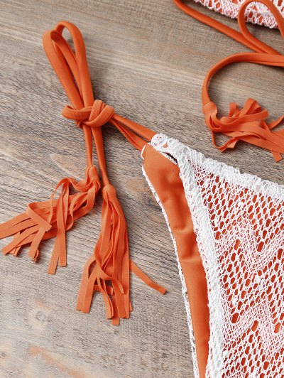 Halter String Tassels Bikini Set - ORANGEPINK L Mobile