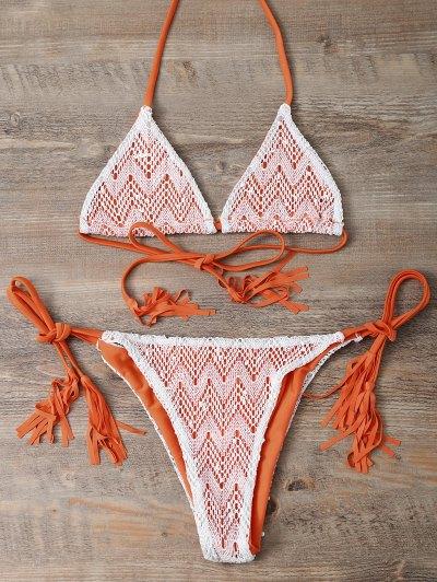 Halter String Tassels Bikini Set - ORANGEPINK M Mobile
