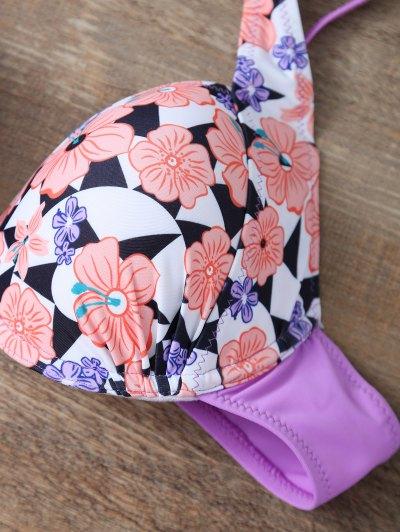 Cut Out Floral Bikini Set - PINK L Mobile