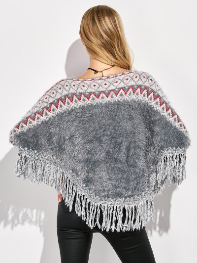 Tassels Fluffy Batwing Sweater - MULTICOLOR ONE SIZE Mobile