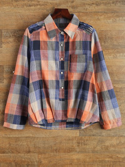 Checked Shirt With Pocket - PLAID L Mobile
