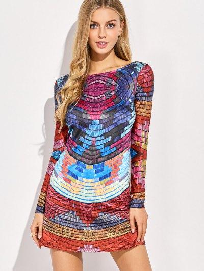 Back Low Cut Tie-Dyed Colorful Dress - COLORMIX 2XL Mobile