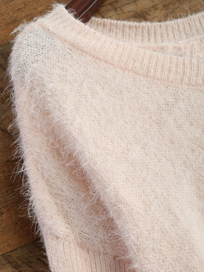 Fluffy Basic Sweater - PINK M Mobile