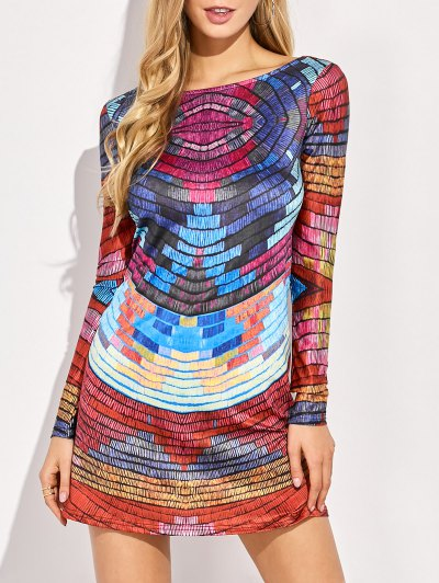 Back Low Cut Tie-Dyed Colorful Dress - COLORMIX M Mobile