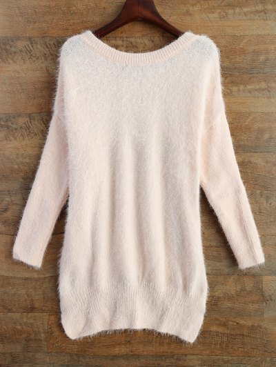 Fluffy Basic Sweater - PINK S Mobile