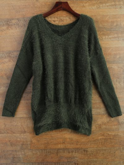 Fluffy Basic Sweater - GREEN L Mobile