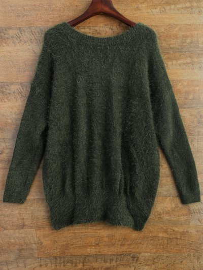 Fluffy Basic Sweater - GREEN M Mobile