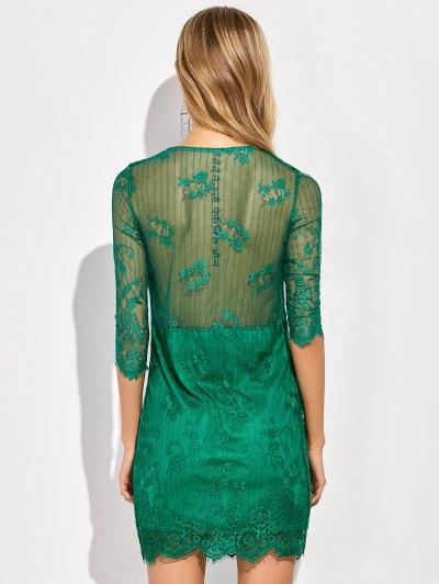 Scalloped Mini Floral Lace Dress - GREEN L Mobile