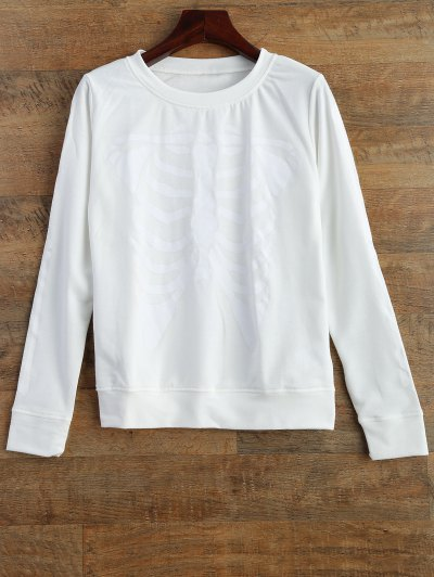 Skeleton Graphic Halloween Sweatshirt - WHITE L Mobile