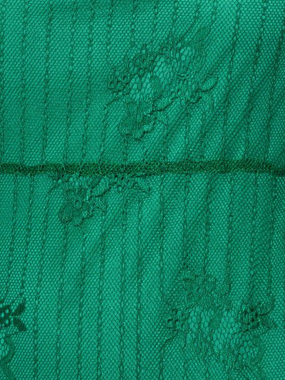 Scalloped Mini Floral Lace Dress - GREEN S Mobile