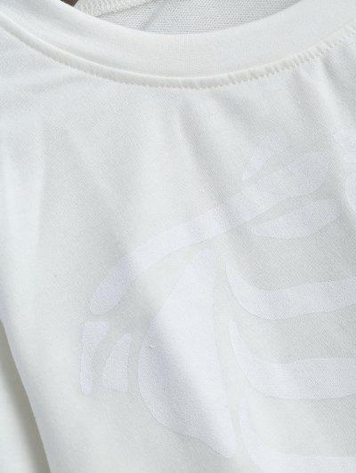 Skeleton Graphic Halloween Sweatshirt - WHITE M Mobile
