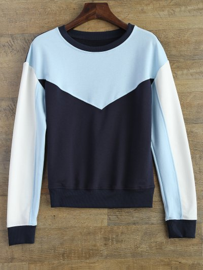Leisure Color Block Sweatshirt - BLUE L Mobile