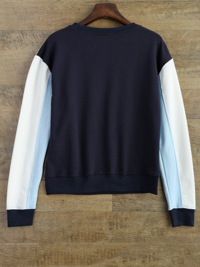 Leisure Color Block Sweatshirt - BLUE M Mobile