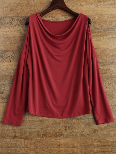 Long Sleeves Cut Out T-Shirt - RED 2XL Mobile