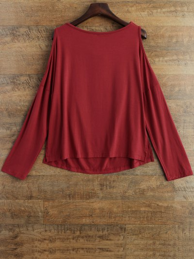 Long Sleeves Cut Out T-Shirt - RED XL Mobile