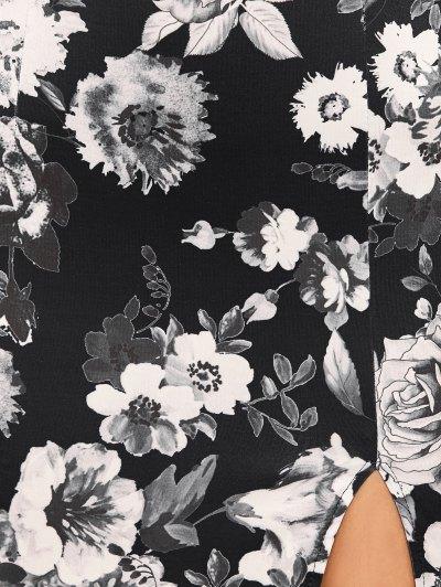 Halter Neck Floral Print Pencil Dress - FLORAL M Mobile