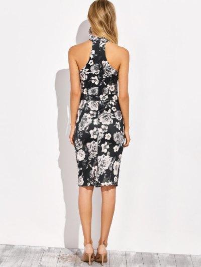 Halter Neck Floral Print Pencil Dress - FLORAL S Mobile