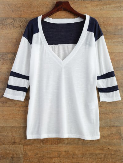 V Neck Color Block Tee - WHITE L Mobile