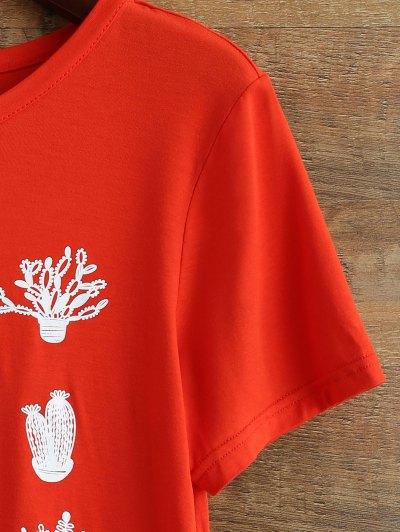 Short Sleeve Plant Print T Shirt - RED XL Mobile
