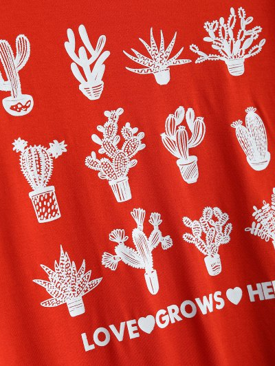 Short Sleeve Plant Print T Shirt - RED M Mobile