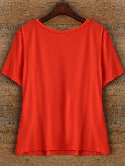 Short Sleeve Plant Print T Shirt - RED S Mobile