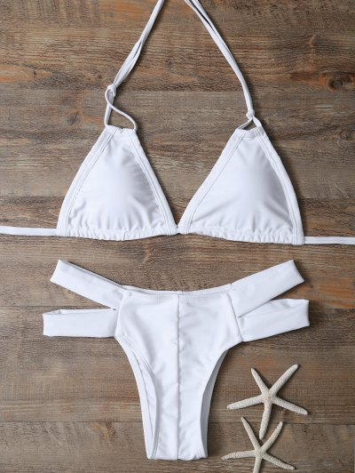 Halter Cut Out Padded Bikini - WHITE S Mobile