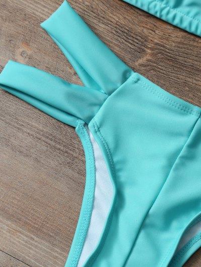 Halter Cut Out Padded Bikini - LAKE GREEN L Mobile
