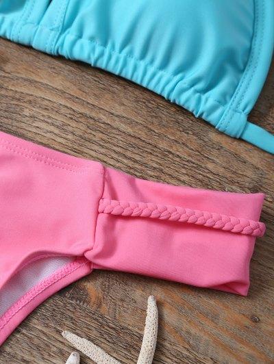 Padded Braided Mix Match Bikini Set - LAKE GREEN L Mobile