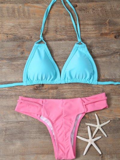 Padded Braided Mix Match Bikini Set - LAKE GREEN S Mobile