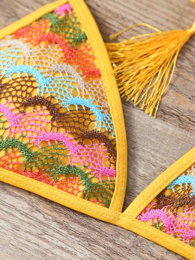 Halter Lace Patch String Bikini - YELLOW L Mobile