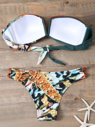 Braided Printed Strapless Bikini - BLACKISH GREEN S Mobile