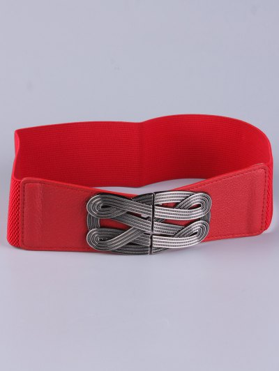 Faux Leather Stretch Belt - RED  Mobile