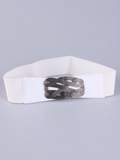 Faux Leather Stretch Belt - WHITE  Mobile
