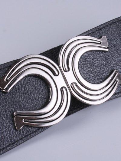 X Shape Buckle Elastic Belt - BLACK  Mobile