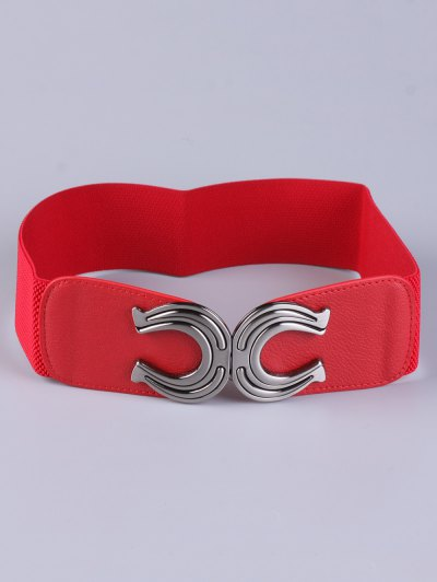 X Shape Buckle Elastic Belt - RED  Mobile