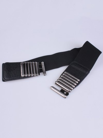 Bowknot Decorative Elastic Wide Belt - BLACK  Mobile