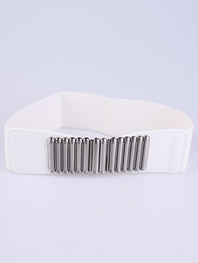 Bowknot Decorative Elastic Wide Belt - WHITE  Mobile