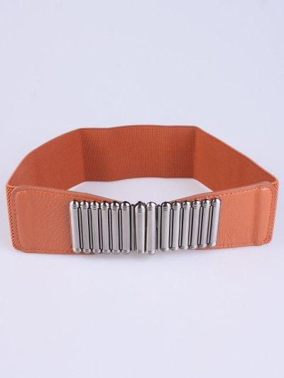 Bowknot Decorative Elastic Wide Belt - LIGHT BROWN  Mobile