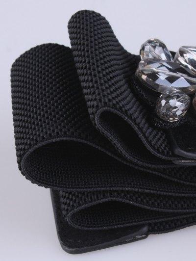 Faux Crystal Elastic Wide Belt - BLACK  Mobile