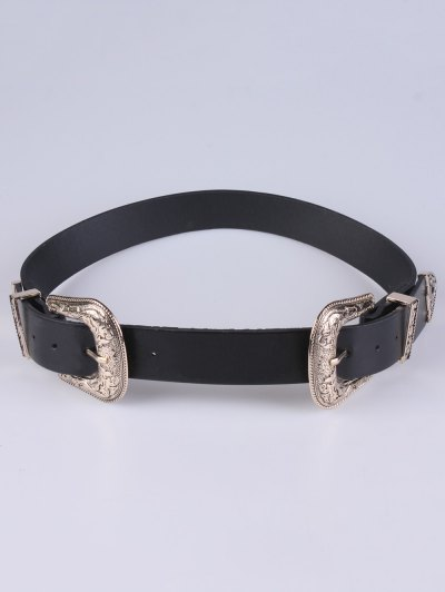 PU Double Pin Buckle Belt - GOLDEN  Mobile