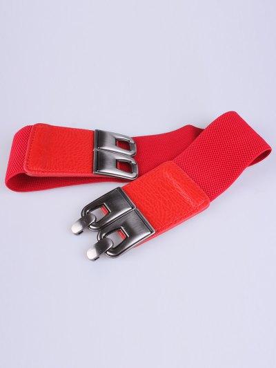 PU Alloy Elastic Wide Belt - RED  Mobile