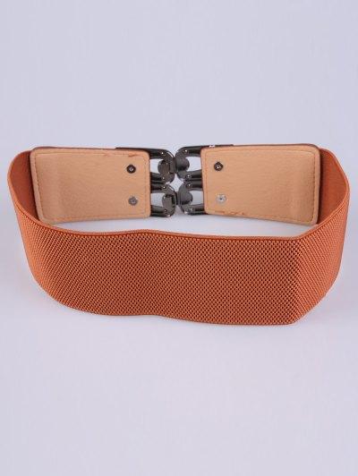 PU Alloy Elastic Wide Belt - CHOCOLATE  Mobile