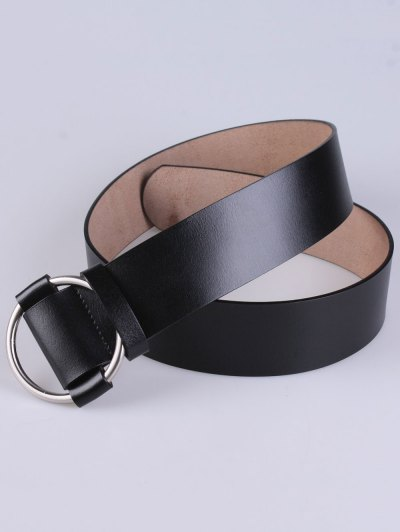 PU Round Buckle Adjustable Belt - BLACK  Mobile