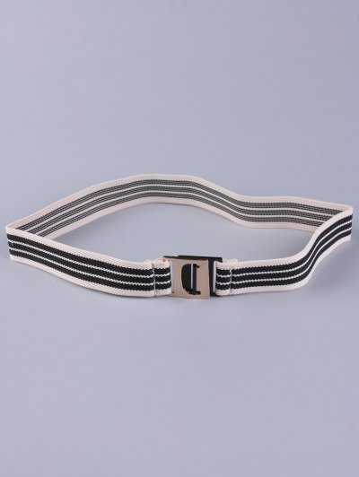 Striped Elastic Wide Belt - BLACK  Mobile