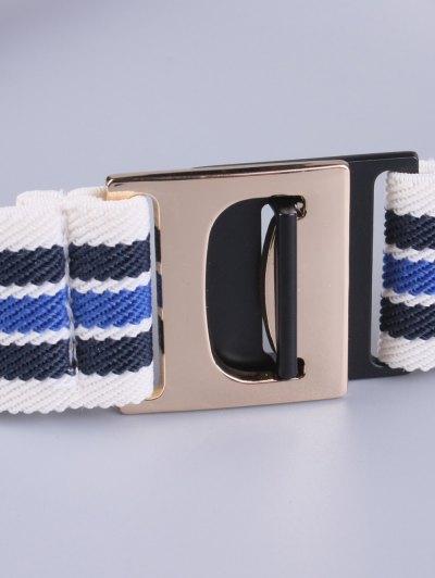 Striped Elastic Wide Belt - BLUE  Mobile