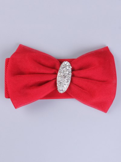 Bowknot Rhinestone Elastic Wide Belt - RED  Mobile