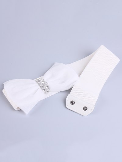 Bowknot Rhinestone Elastic Wide Belt - WHITE  Mobile