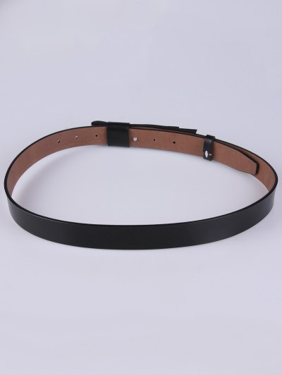 Adjustable Faux Leather Belt - BLACK  Mobile
